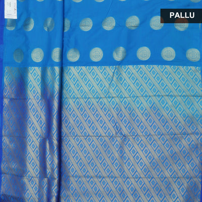Art Silk Saree Sky blue and Blue with Round Gold Butta and Simple border for Rs.Rs. 1470.00 | Art Silk Sarees by Prashanti Sarees