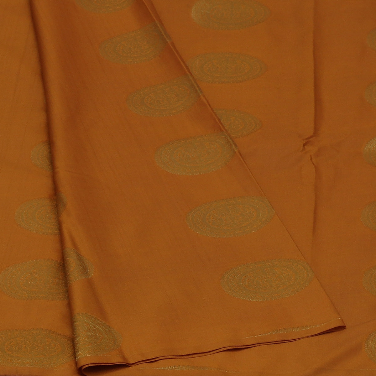 Art Silk Saree Dark Mustard and Pink shade with Round Gold Butta and Simple border