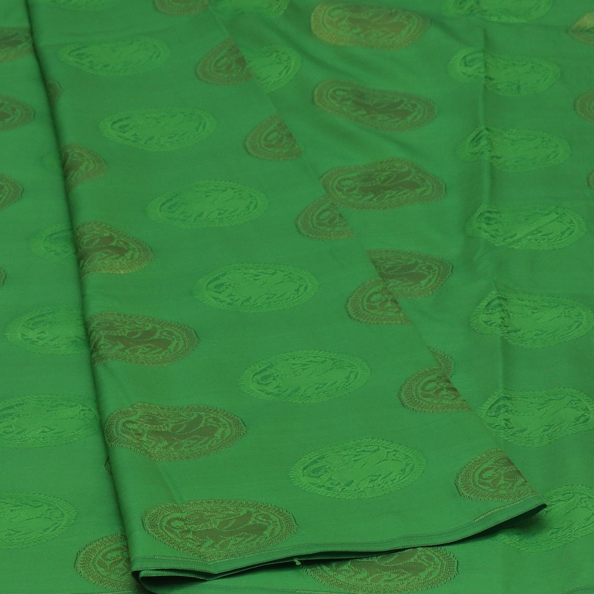 Art Silk saree light Green and Pink shade with Round Gold Butta and Simple border