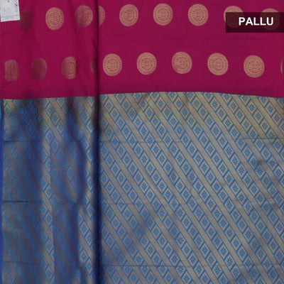 Art Silk Saree Pink and Blue with Round Gold Butta and Simple border