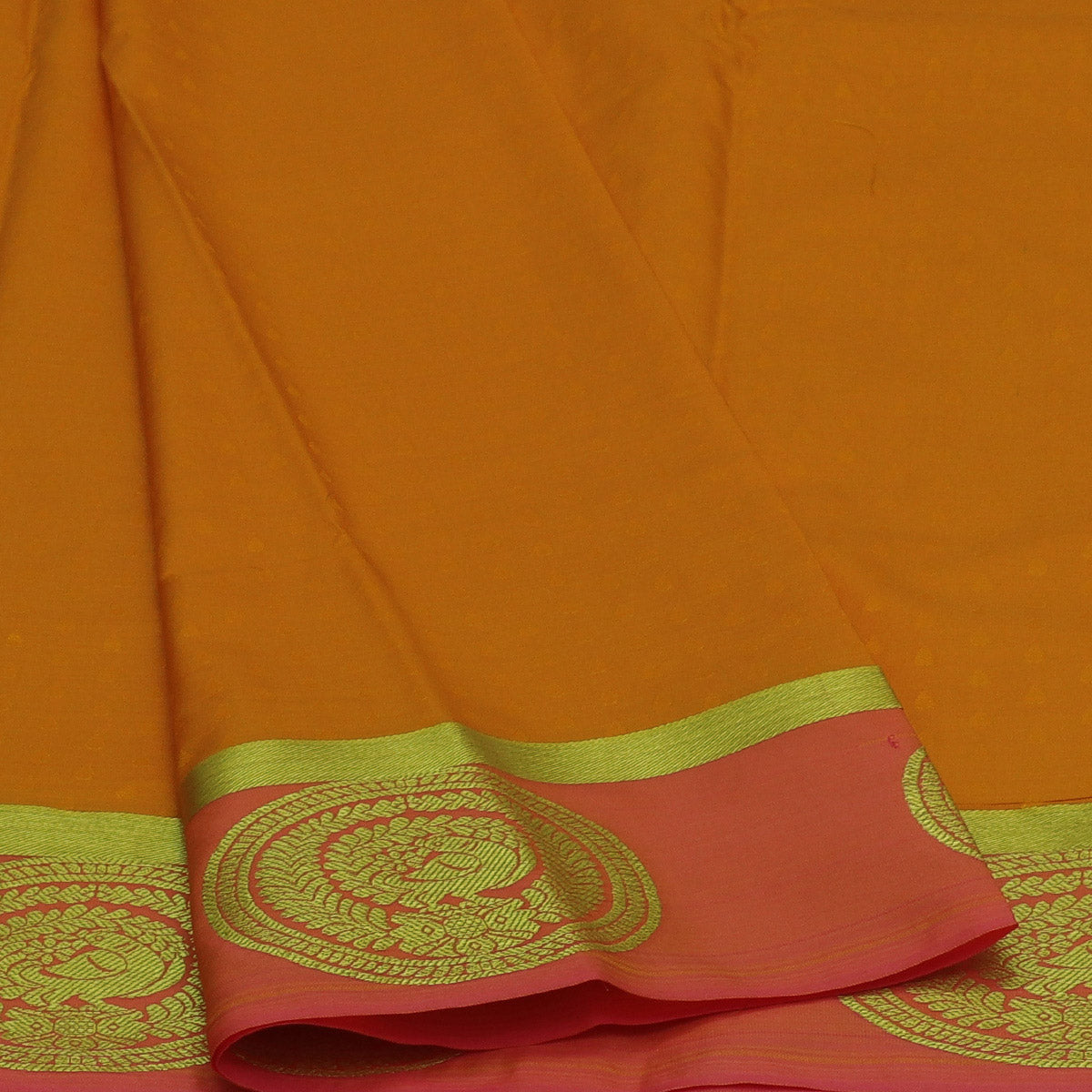 Art Silk Saree Yellow and Pink with Annam Zari border