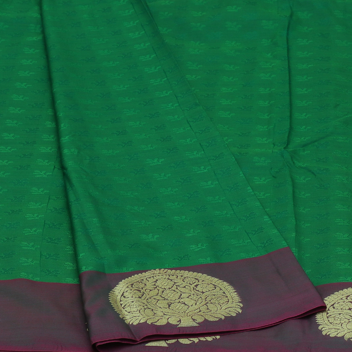 Art Silk Saree Green and Pink with Tree Zari border