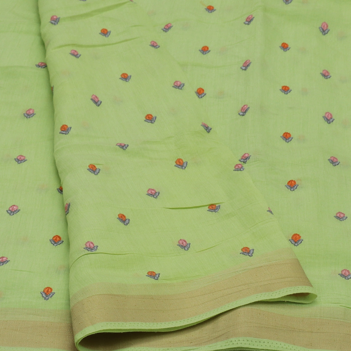 Semi Tussar Saree Light Green with Thread buds and Zari border