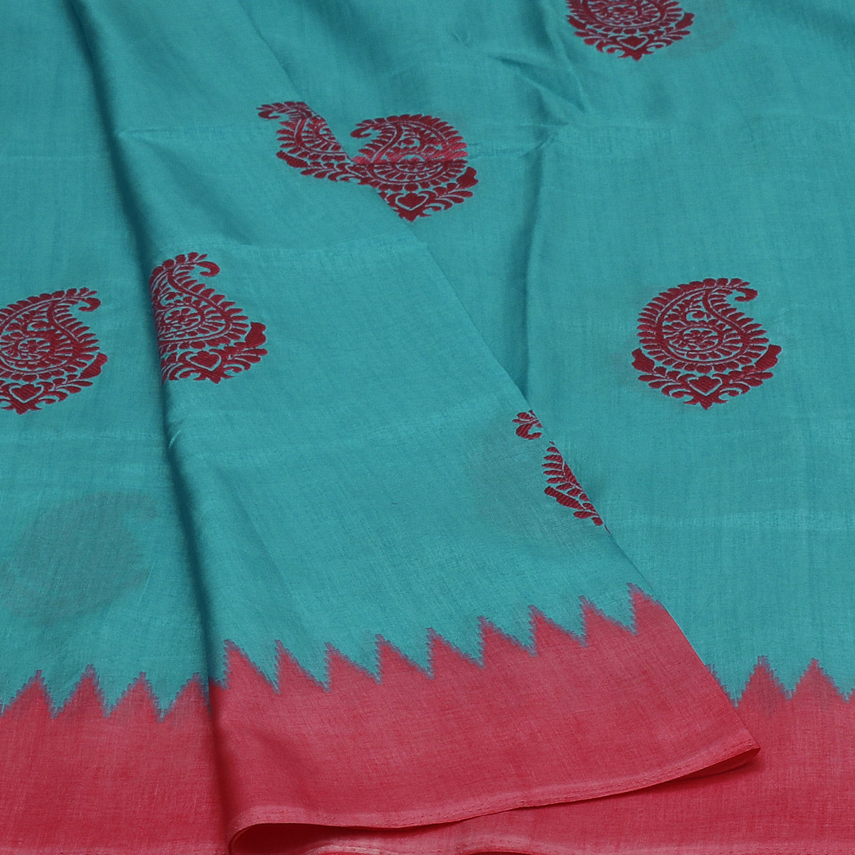 Semi Tussar Saree Sky Blue and Pink with Thread Mango and Temple border