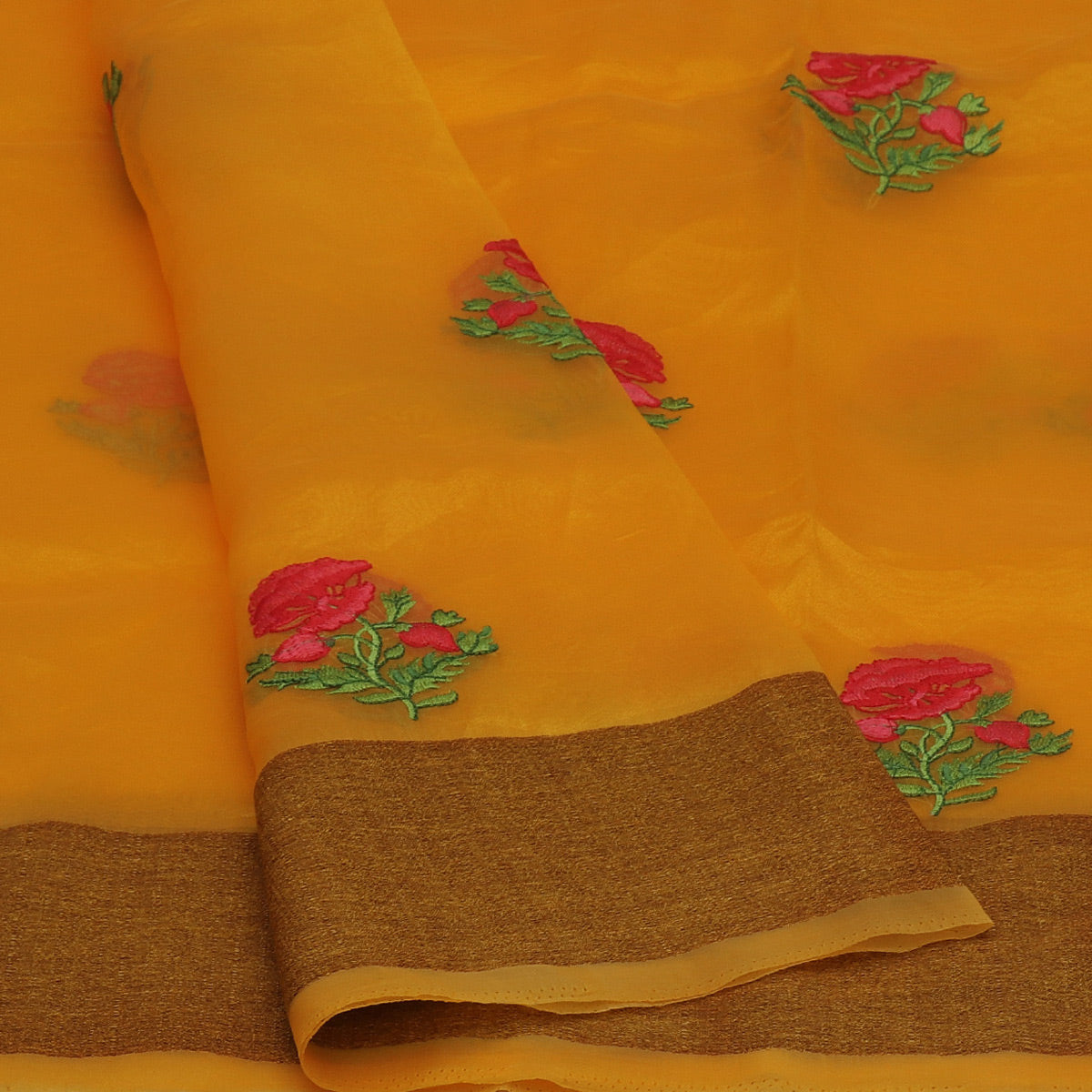 Semi Tussar Saree Yellow with Thread Flower and Simple border