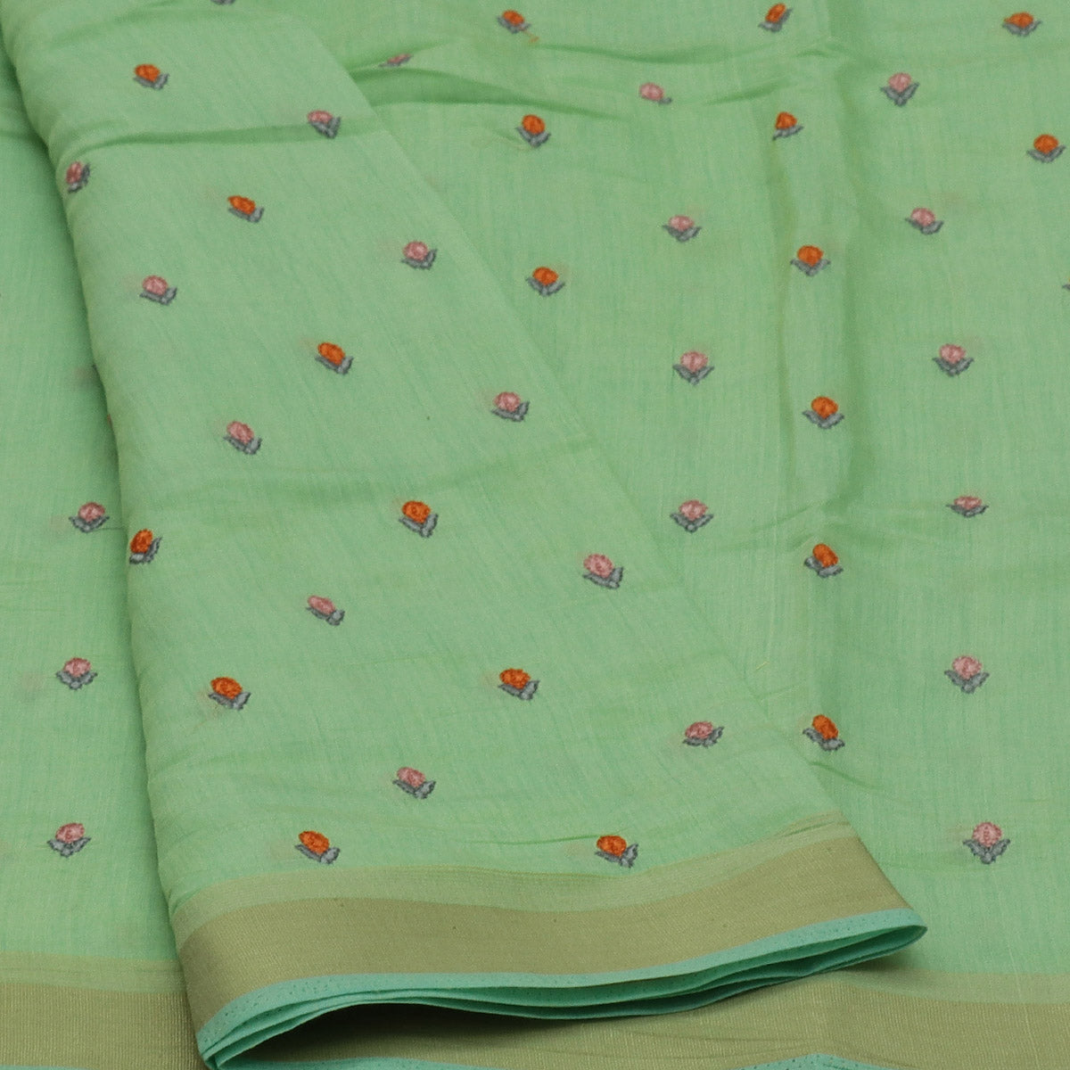 Semi Tussar Saree Mint Green with Buds Embroidery and simple zari border