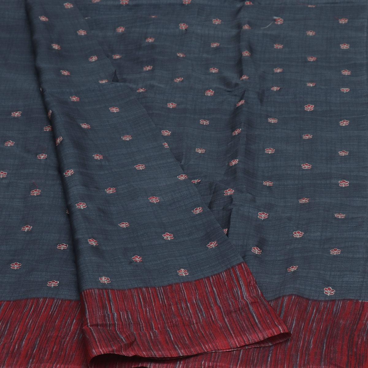Semi Tussar Saree Grey and Red with Flower Embroidery and Simple border