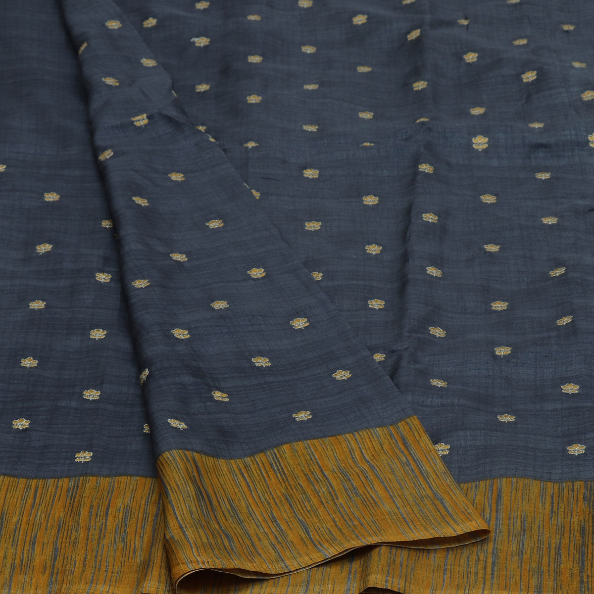 Semi Tussar Saree Grey and Yellow with Flower Embroidery and Simple border