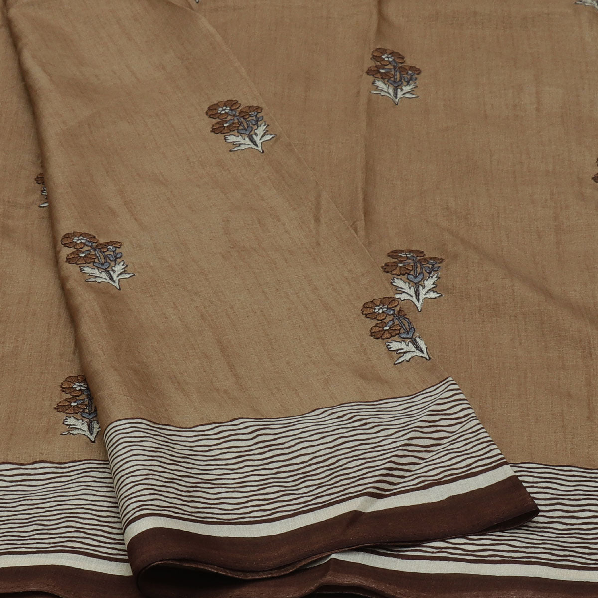Semi Tussar Saree Brown with Flower Embroidery and Simple border