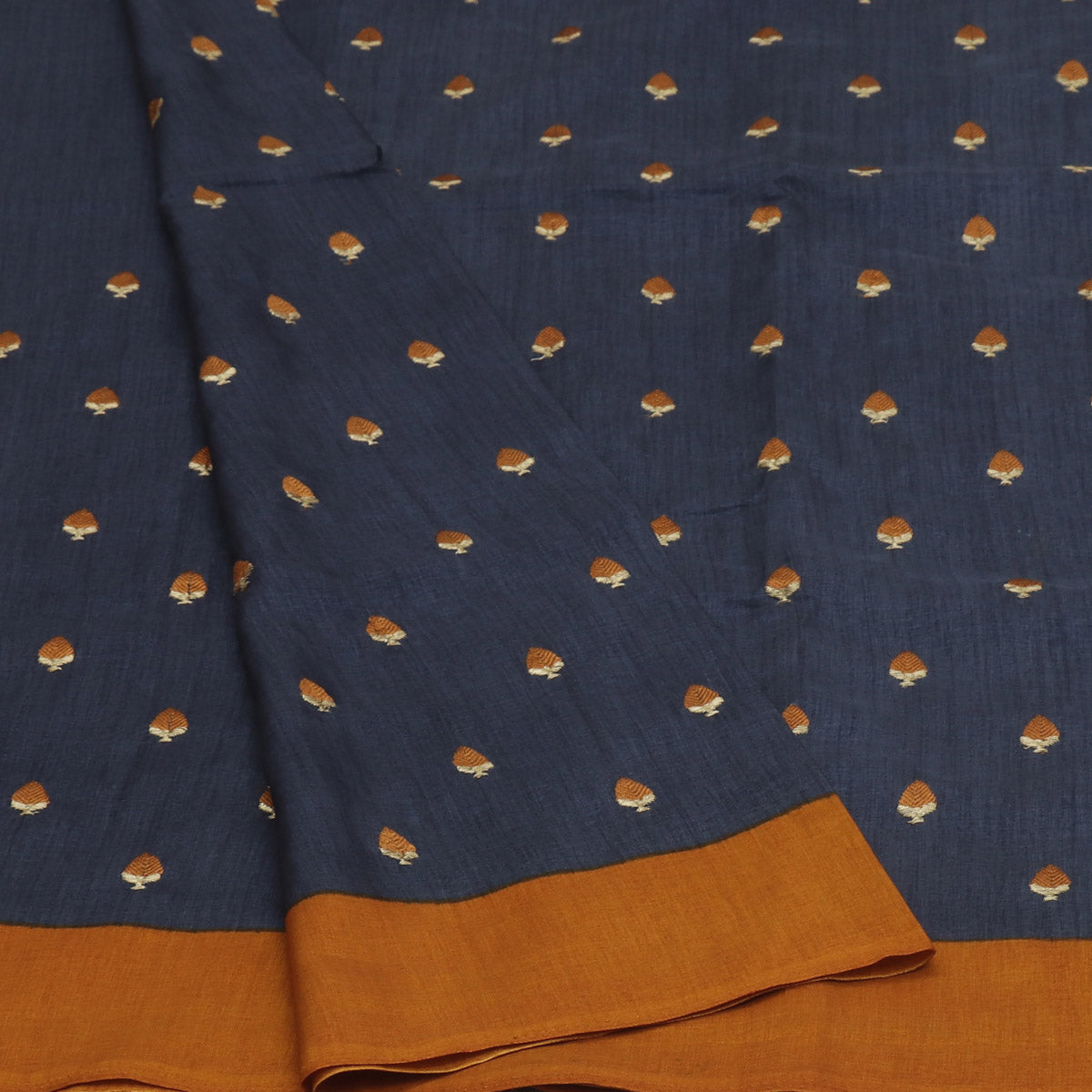 Semi Tussar Saree Grey and Honey Color with Buds Embroidery and Simple border