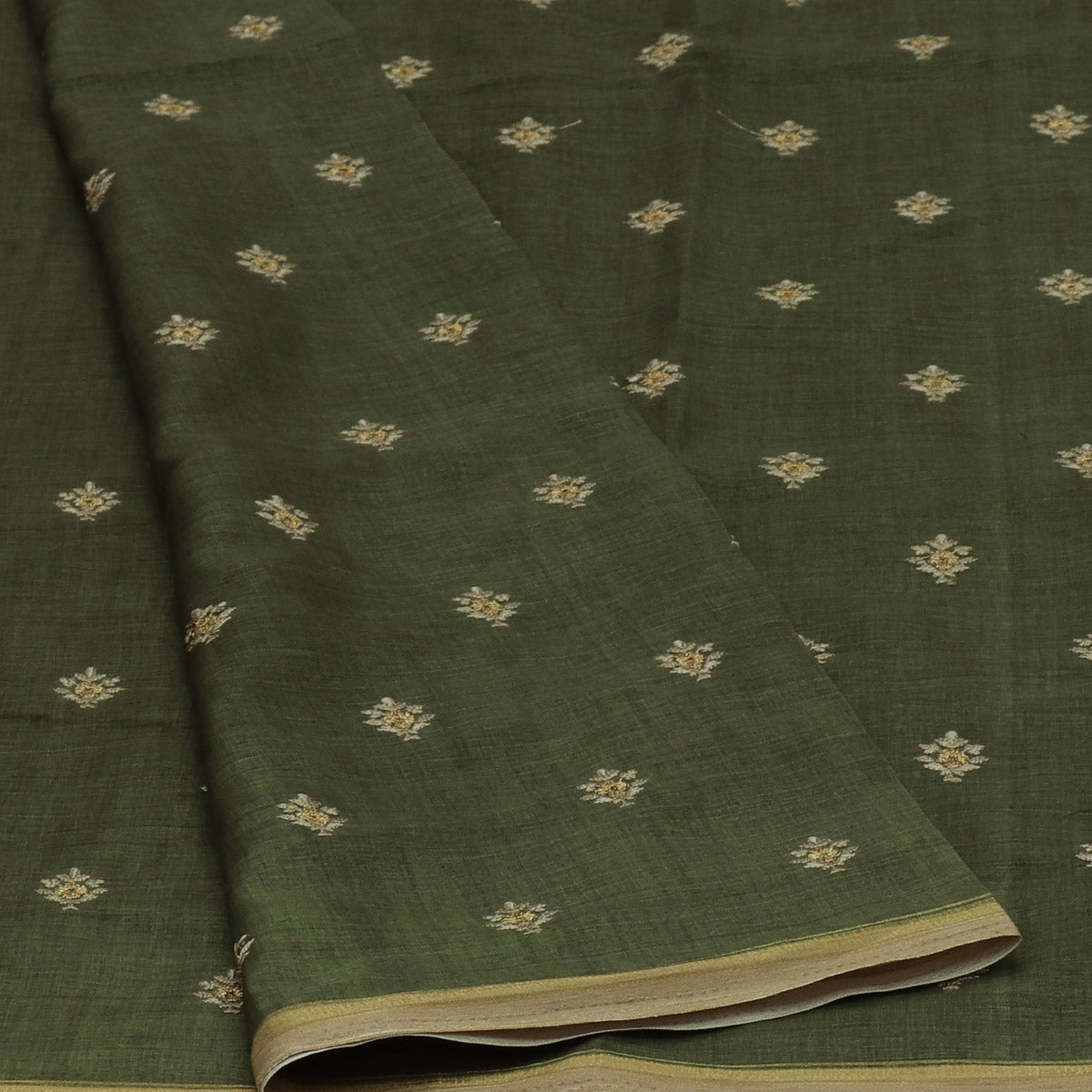 Semi Tussar Saree Pine Green with Embroidery and Simple Zari border