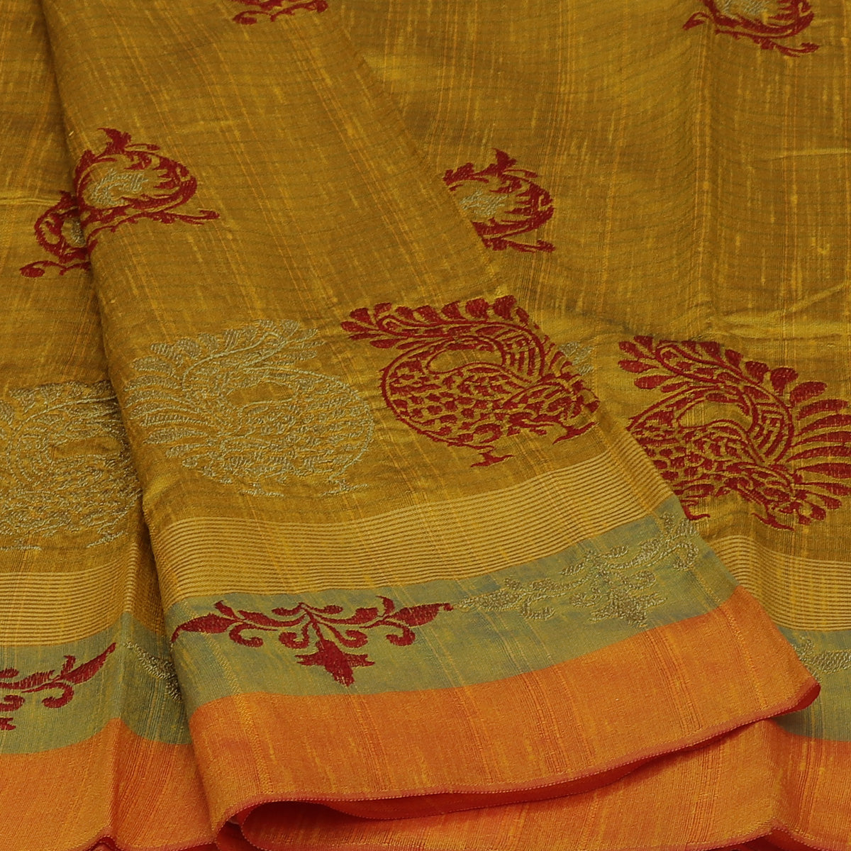 Semi raw silk saree Yellow Shade with Embroidery and Floral border