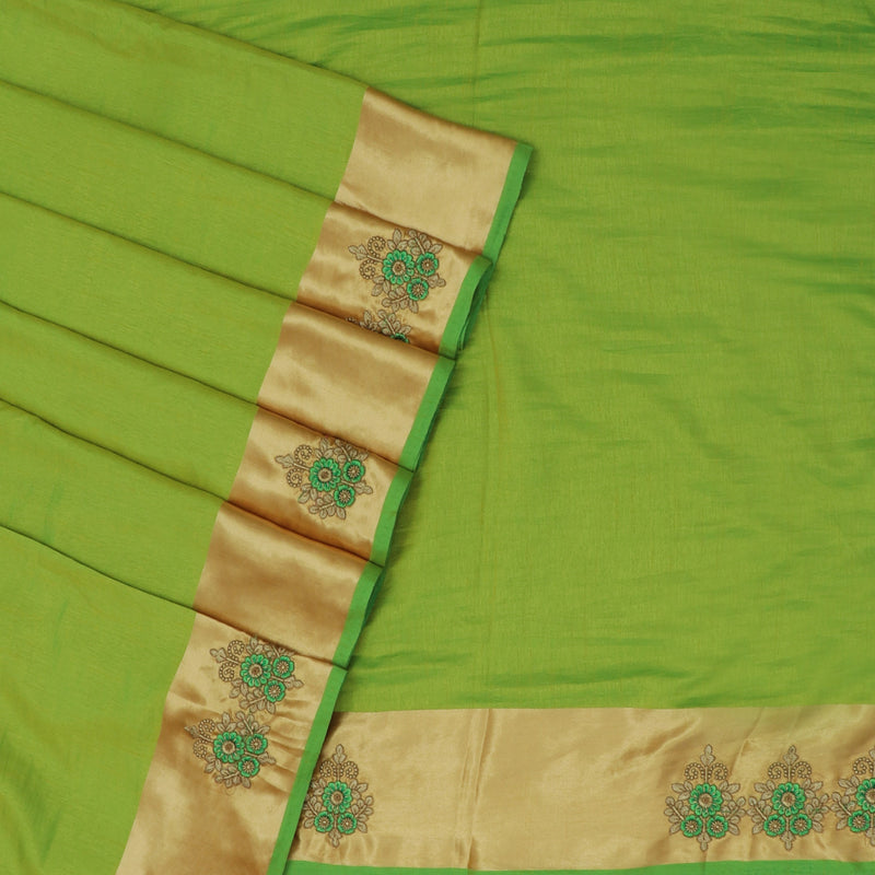 Art Silk Saree Parrot Green with Embroidery and Simple border