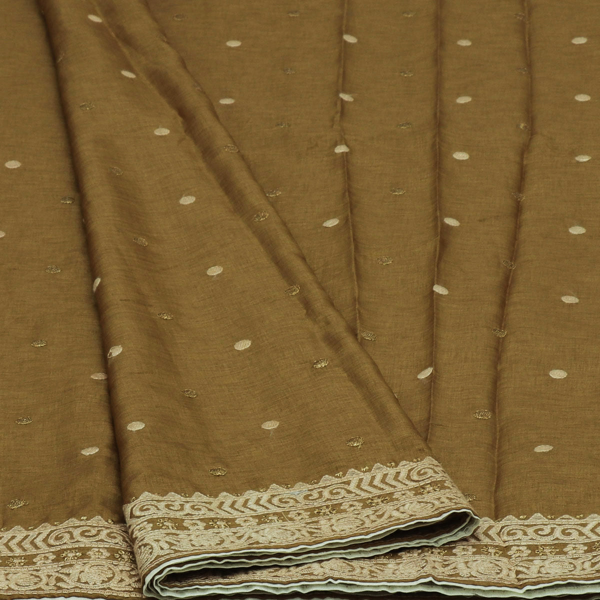 Semi Tussar Saree Chikoo with Floral Thread border