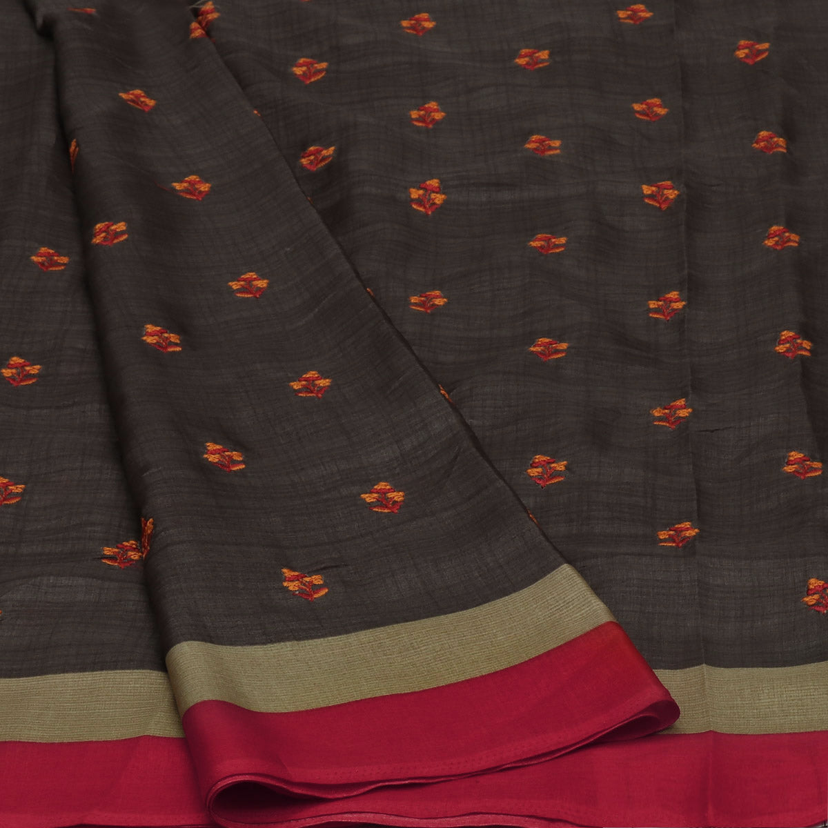 Semi Tussar Saree Grey and Red with thread Design and Simple border