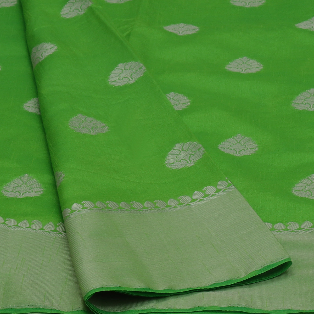 Raw Silk Saree Parrot Green with Butta and Silver Zari border