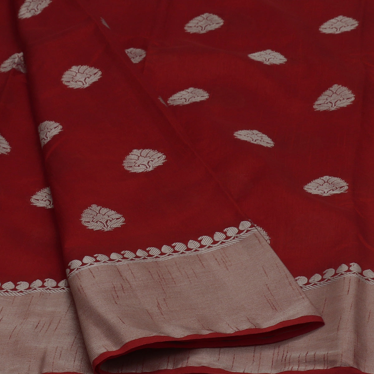 Raw Silk Saree Red with Butta and Silver Zari border
