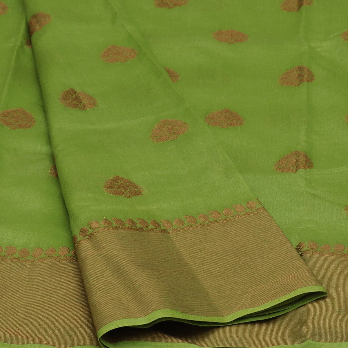 Raw Silk Saree light Green with Butta and Zari border