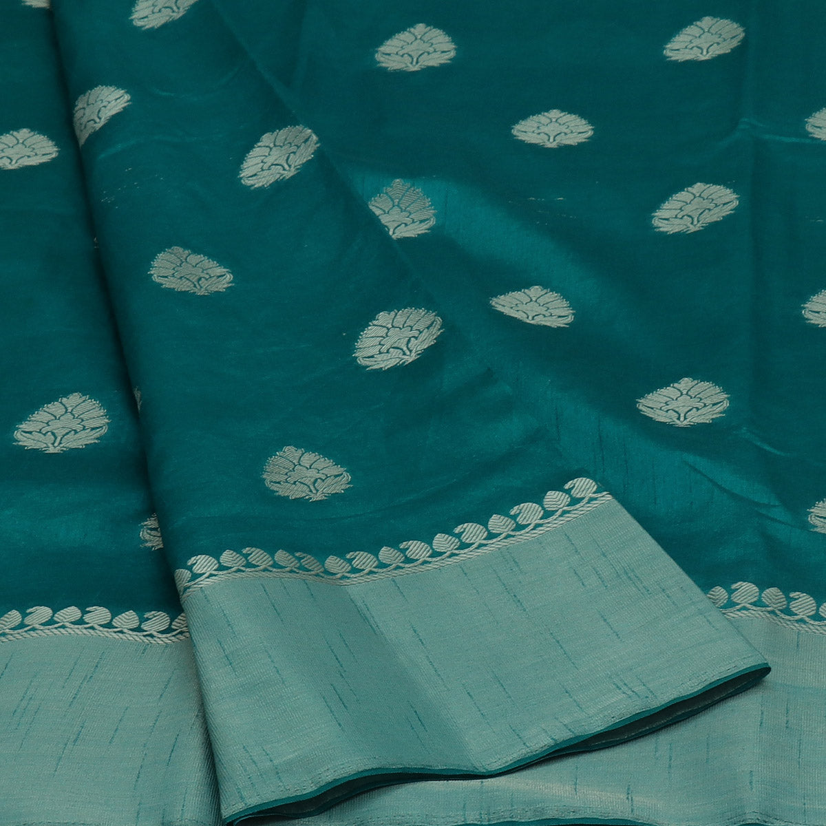 Raw Silk Saree Peacock Blue with Butta and Zari border