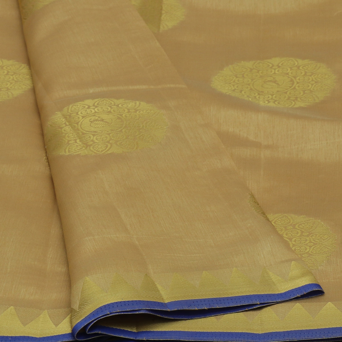 Raw Silk Saree Chikoo with Annam Butta and Temple Zari border