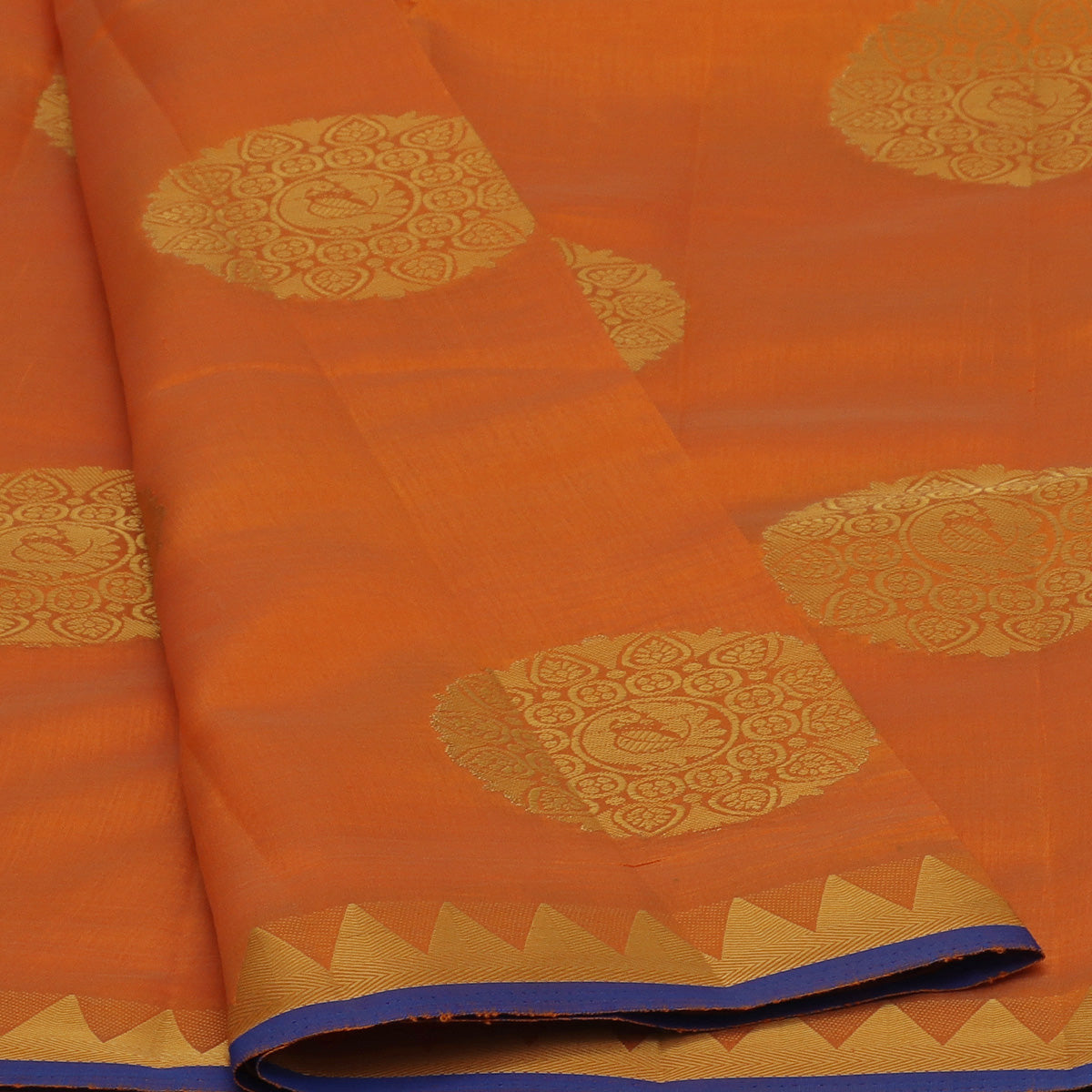 Raw Silk Saree Orange with Annam Butta and Temple Zari border