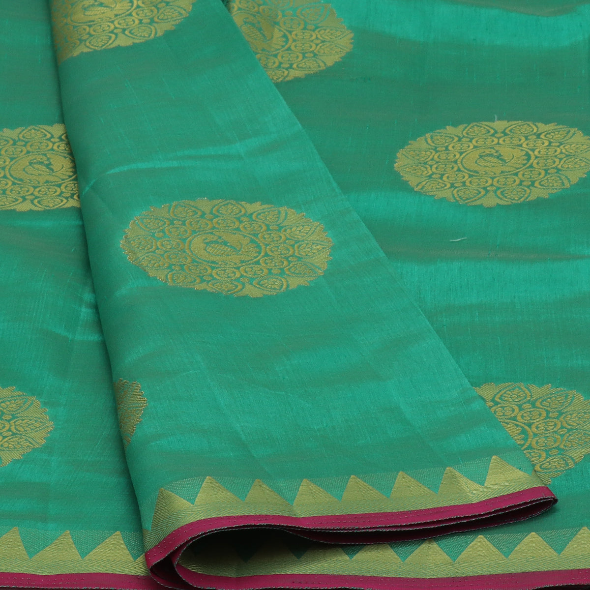 Raw Silk Saree Green with Annam Butta and Temple Zari border