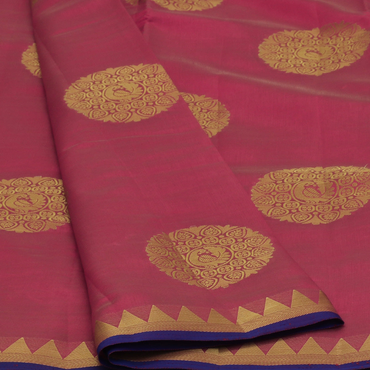 Raw Silk Saree Pink Shade with Annam Butta and Temple Zari border