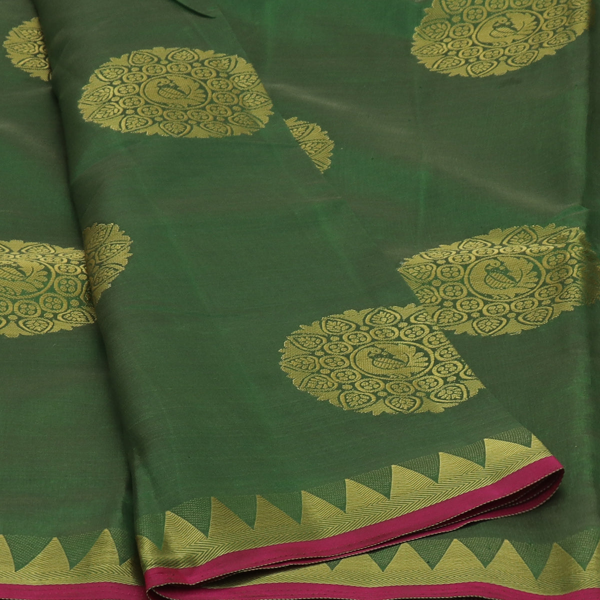 Raw Silk Saree Dark Green with Annam Butta and Temple Zari border