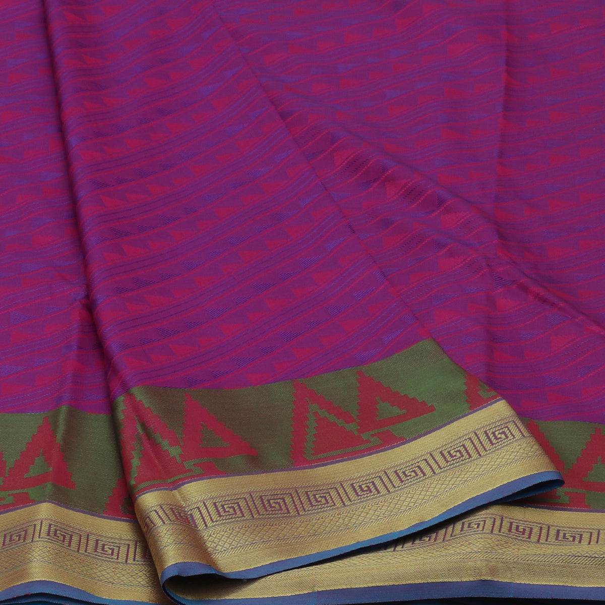 Art Silk Saree Violet and Pink with Simple zari Border