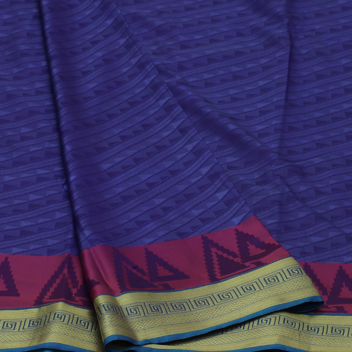 Art Silk Saree Blue and Sky Blue with Simple zari Border
