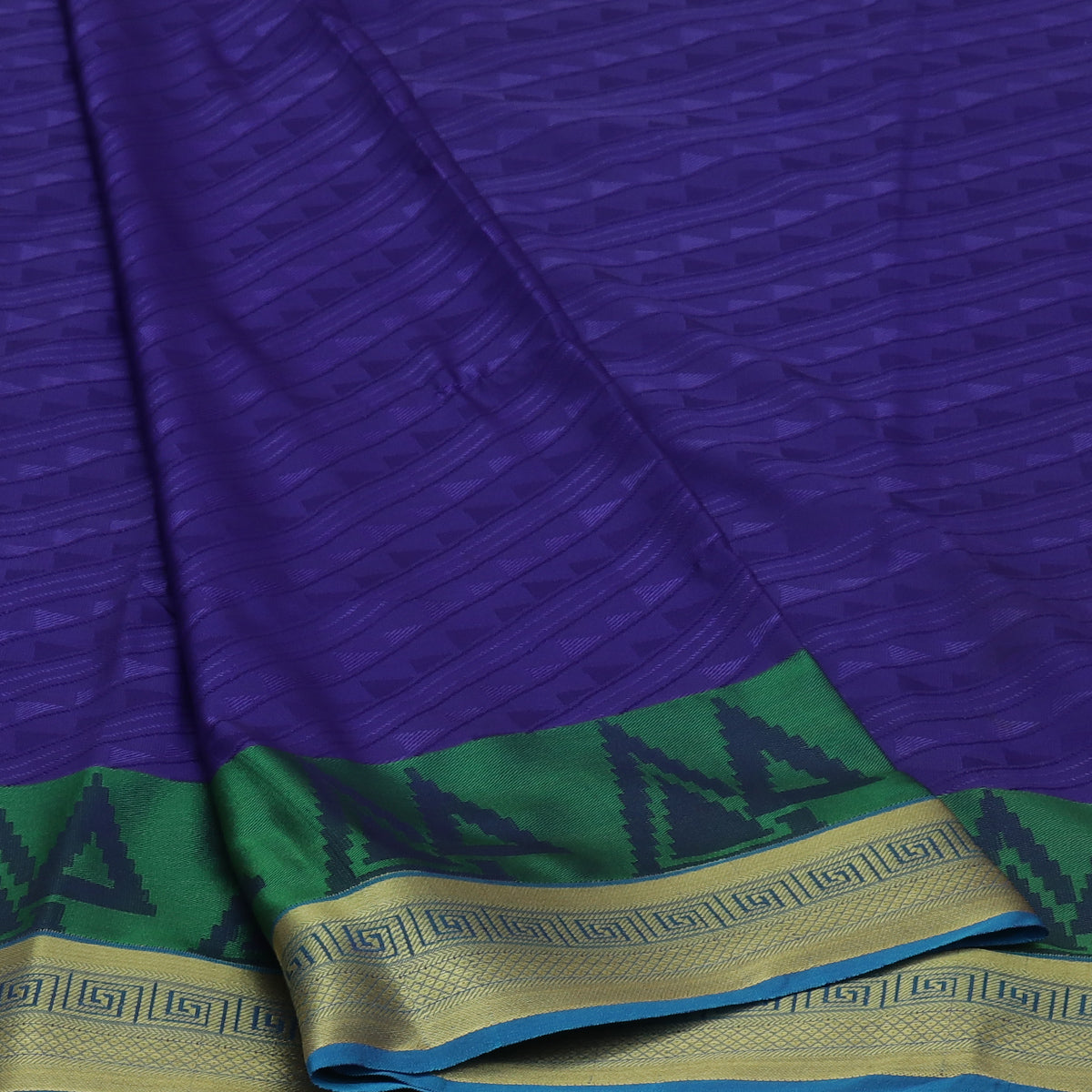 Art Silk Saree Dark Blue and Sky Blue with Simple zari Border