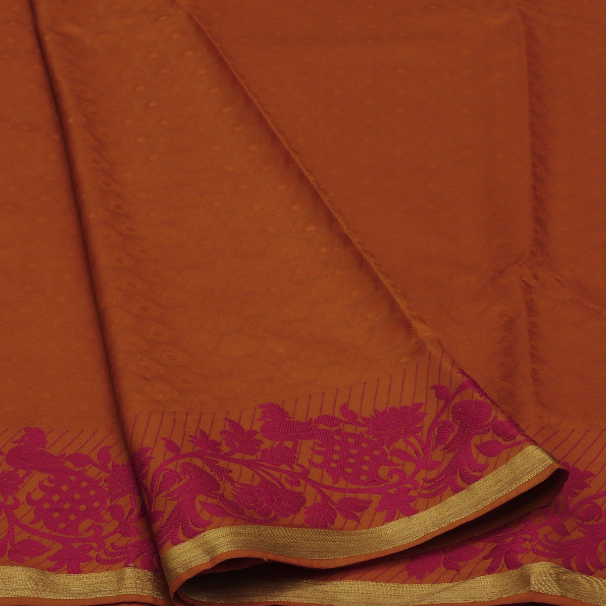 Art Silk Saree Dark  Mustard with Peacock Thread Border