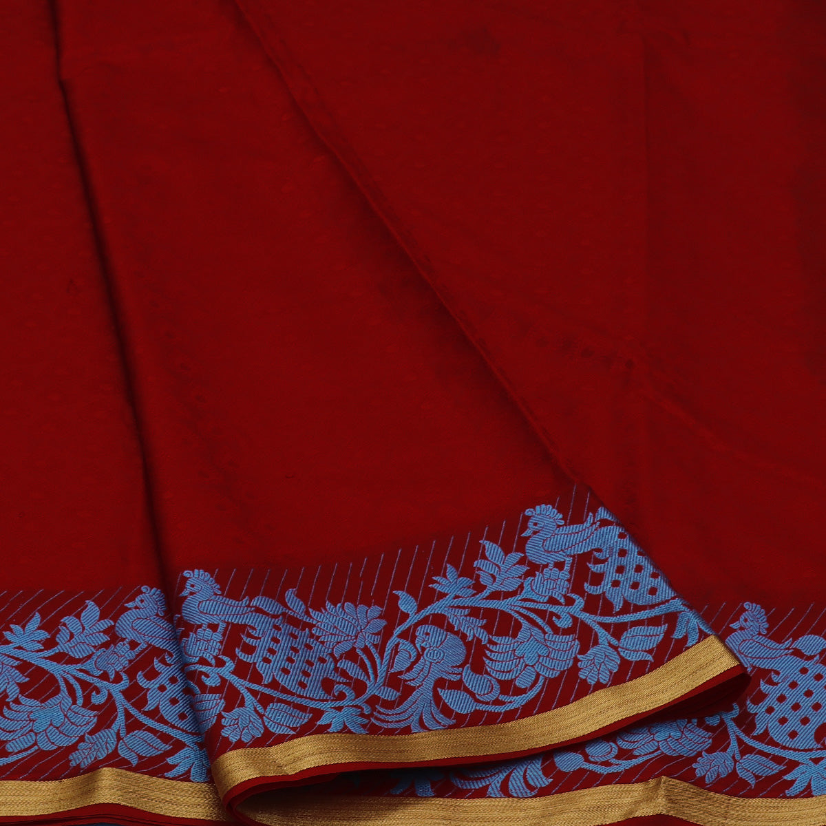Art Silk Saree Red with Peacock Thread Border