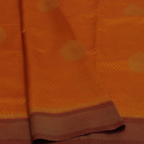 Semi Raw silk saree Honey Color and Maroon with Flower Butta and Zari Border