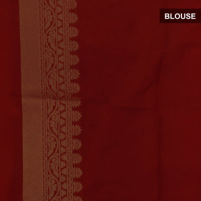 Semi Raw silk saree Yellow and Maroon with Flower Butta and Zari Border