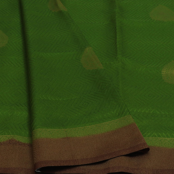 Semi Raw silk saree Green and Brown with Flower Butta and Zari Border