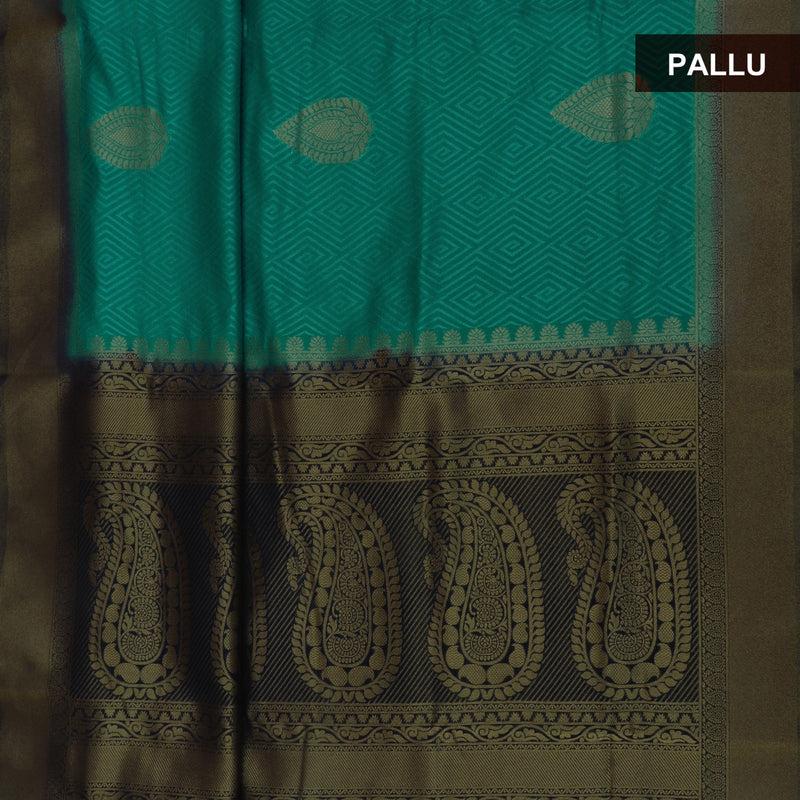 Semi Raw silk saree Peacock Blue and Dark Blue with Flower Design and Zari Border