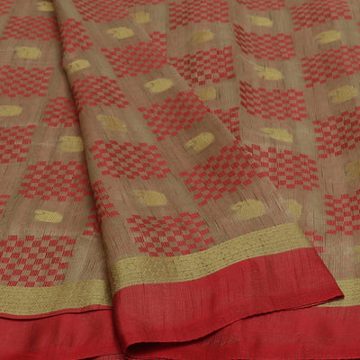 Semi Raw silk saree Half White Red with Butta and Simple Border
