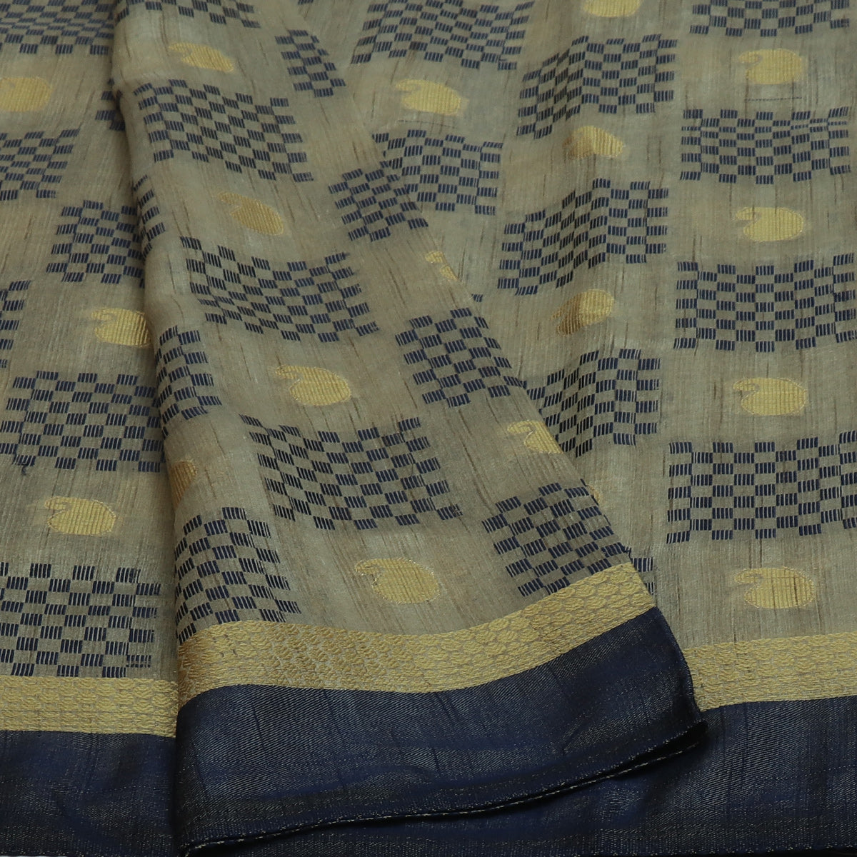 Semi Raw silk saree Half White Blue with Butta and Simple Border