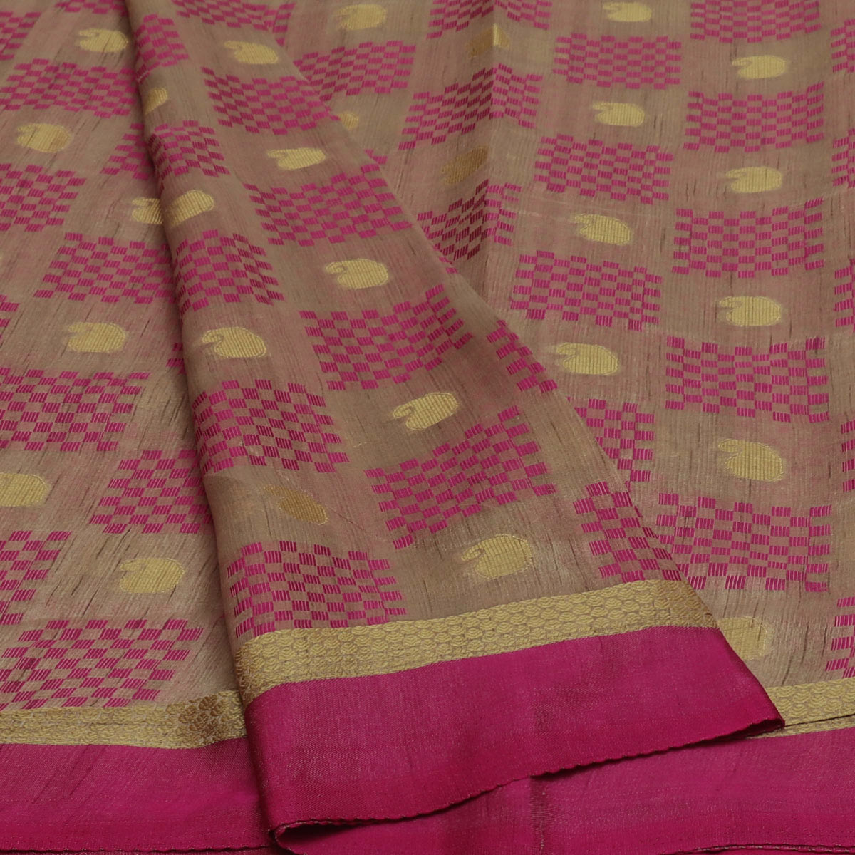 Semi Raw silk saree Half White Pink with Butta and Simple Border