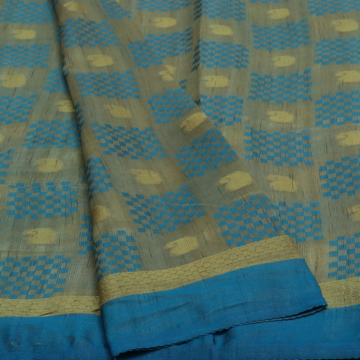 Semi Raw silk saree Half White Sky Blue with Butta and Simple Border