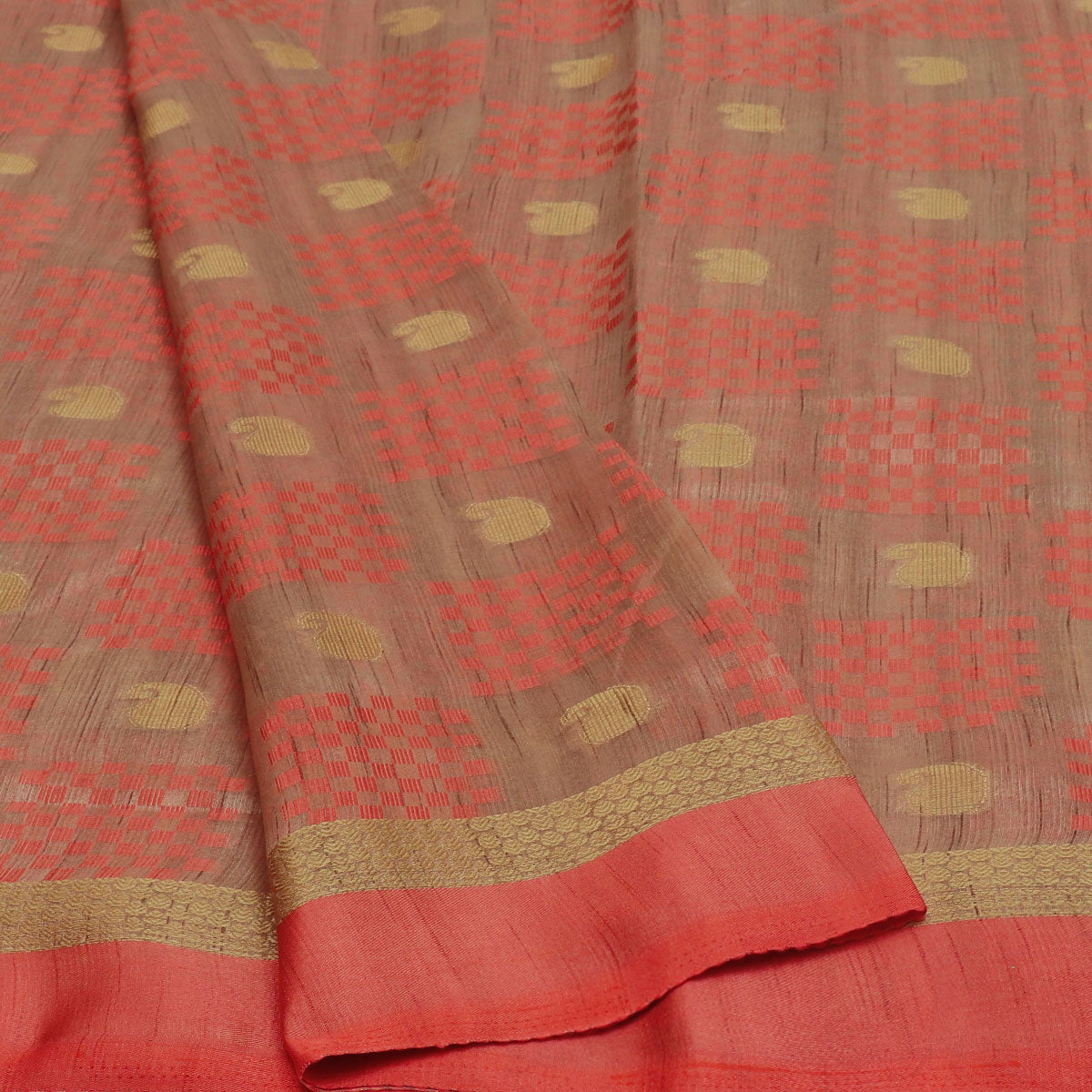 Semi Raw silk saree Half White Peach with Butta and Simple Border