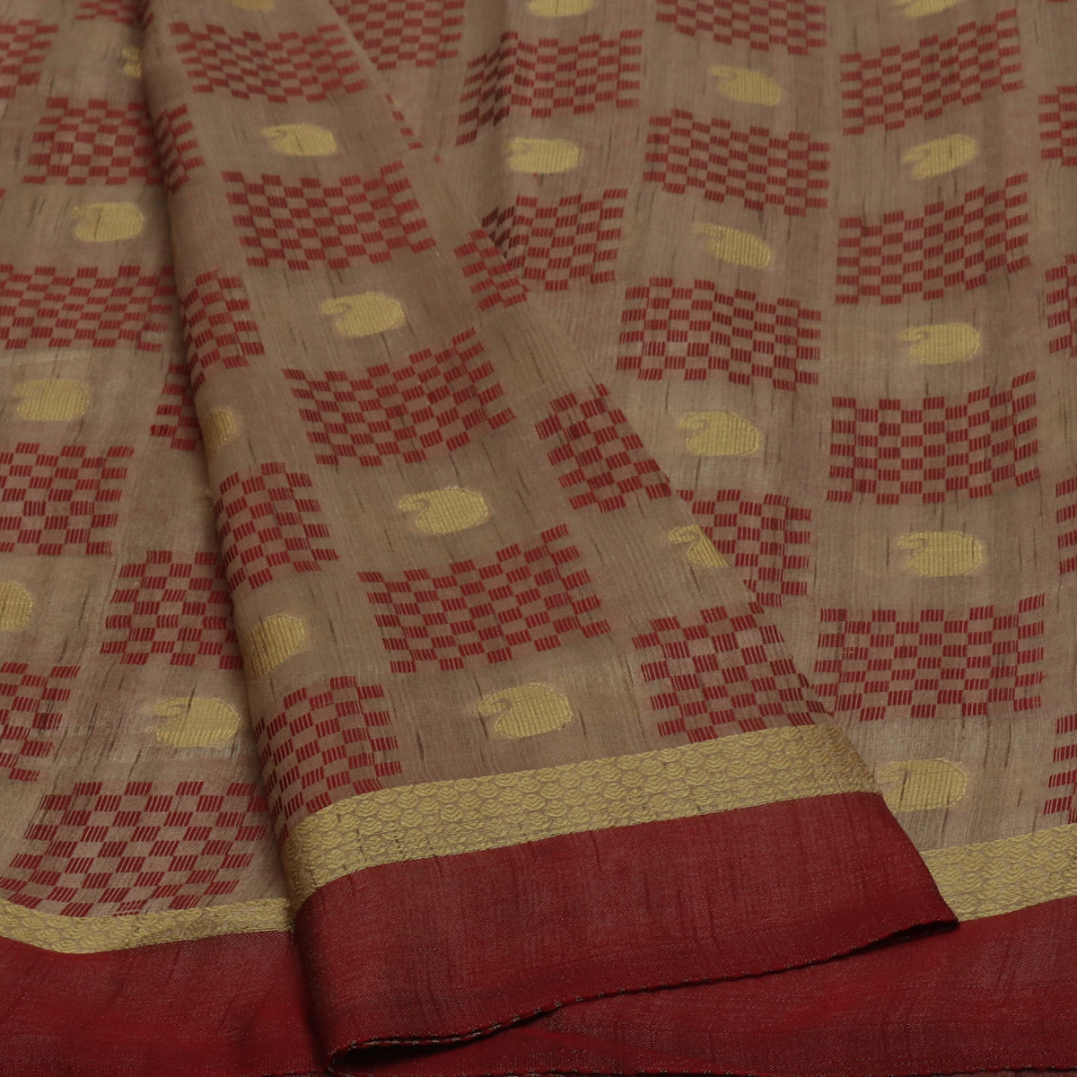 Semi Raw silk saree Half White Maroon with Butta and Simple Border