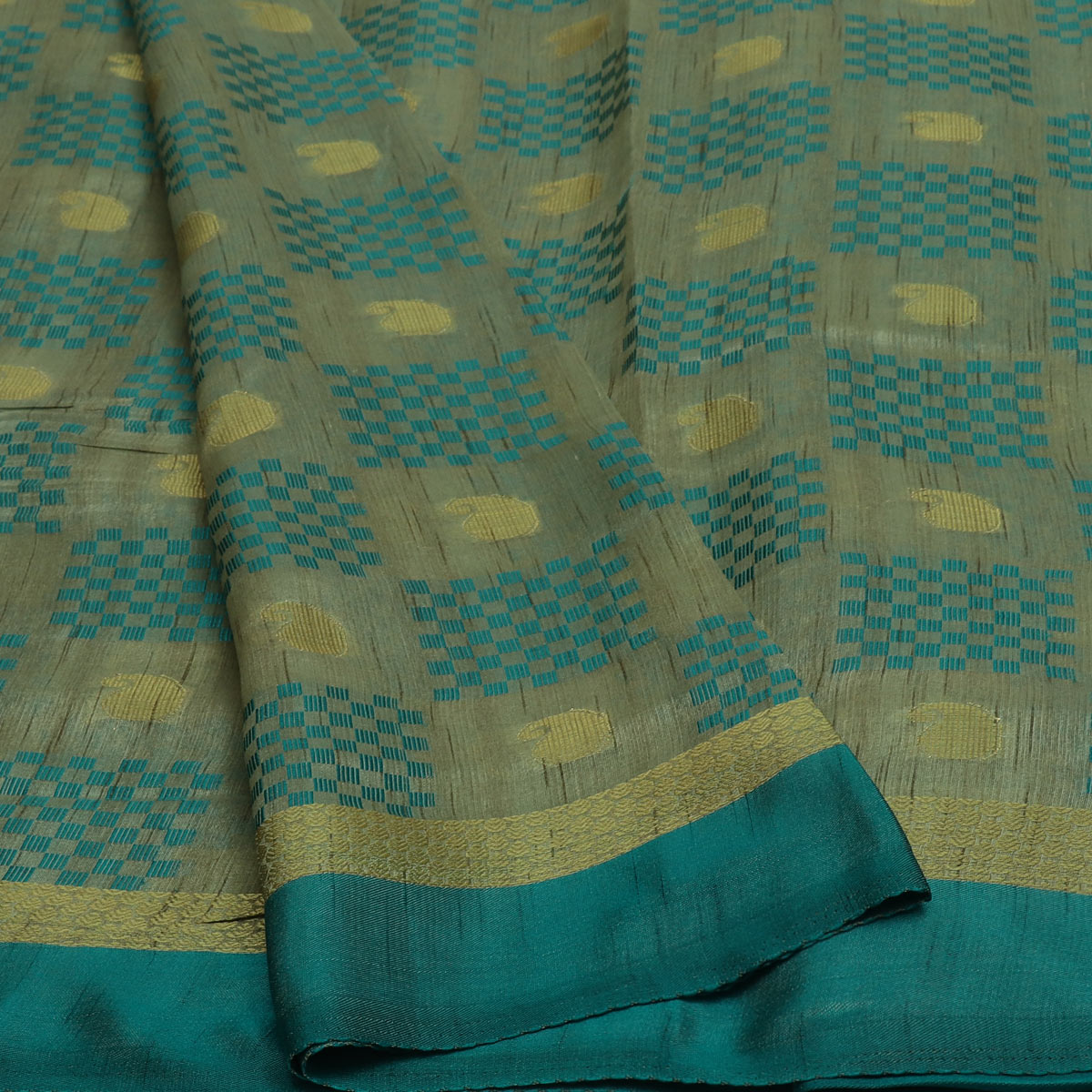 Semi Raw silk saree Half White peacock Green with Butta and Simple Border