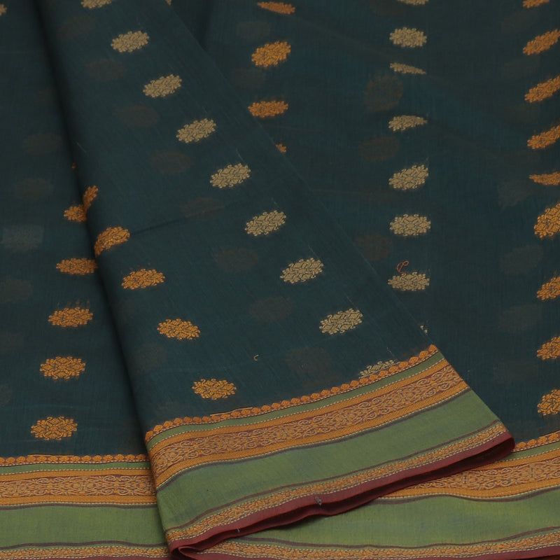 kotta Cotton Saree Dark Green Shade with Butta and Simple Border