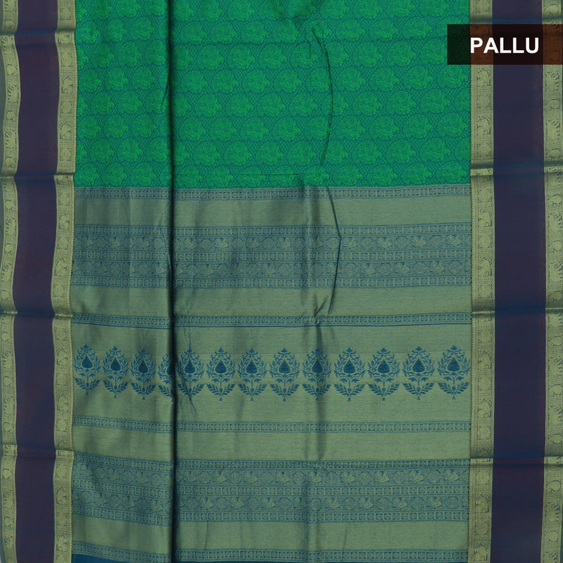 kotta Cotton Saree Green and Purple with Mango Zari Border