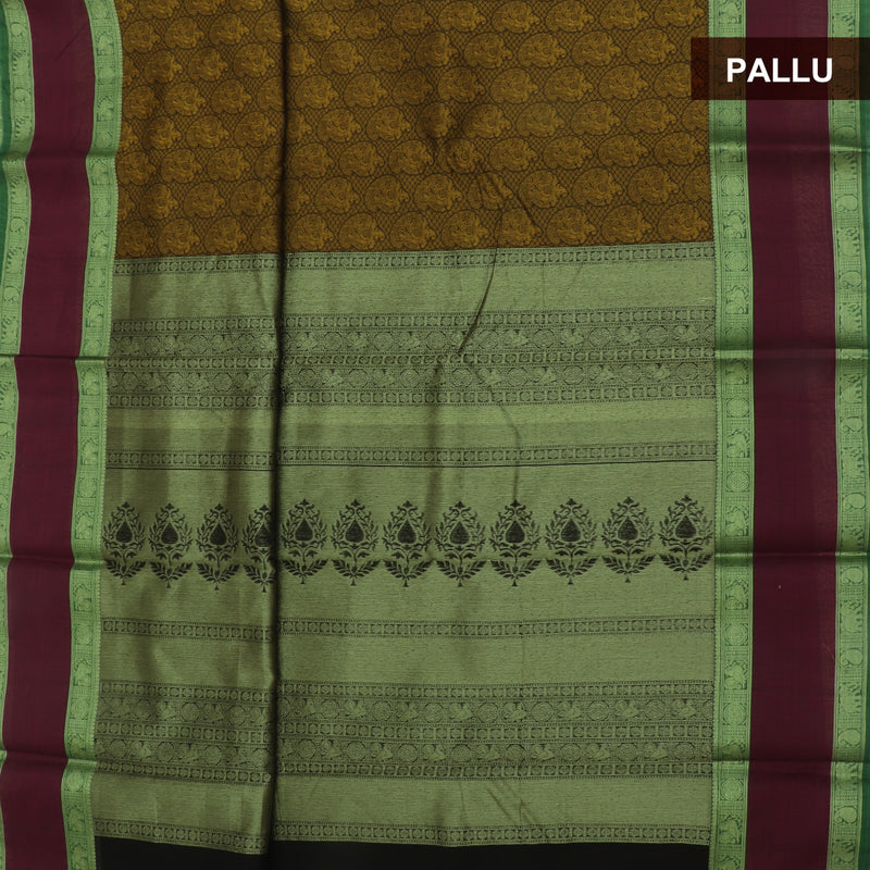 kotta Cotton Saree Mustard and Magenta with Mango Zari Border