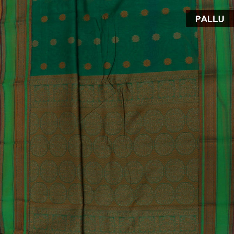 kotta Cotton Saree Green Shade with Butta and Simple Border