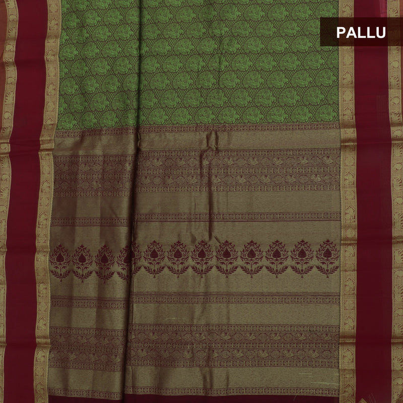 kotta Cotton Saree Green and Red with Mango Zari Border