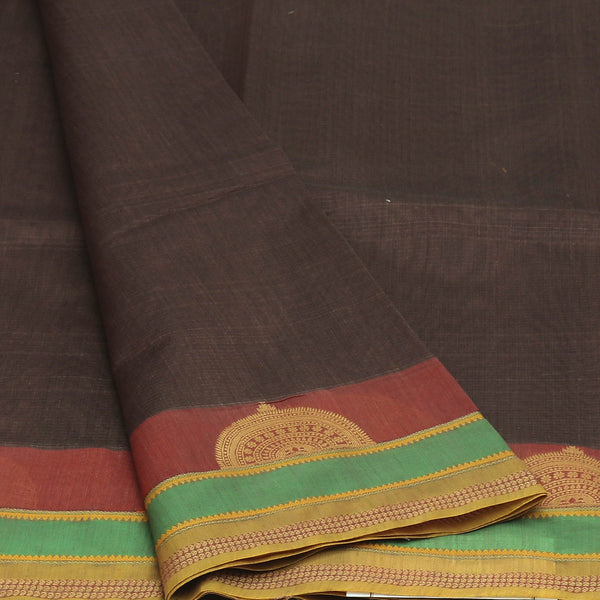 kotta Cotton Saree Brown and Maroon with half Round  Border